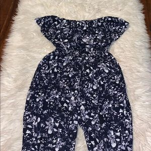 Vera Wang Floral Strapless Jumpsuit